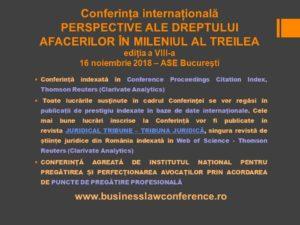 """Conferința Internațională """"Perspective ale Dreptului Afacerilor în Mileniul al Treilea"""", ediția a VIII-a"""